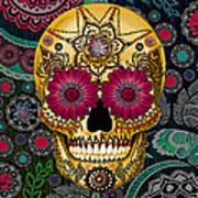 Sugar Skull Paisley Garden - Copyrighted Poster by Christopher Beikmann