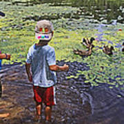 Summer Day At The Pond Poster