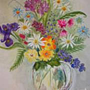 Summer Flowers In Vase Poster by Terri Maddin-Miller