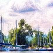 Summer Morning At Johnson's Boatyard Poster