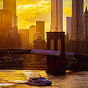 Summertime At The Brooklyn Bridge Poster