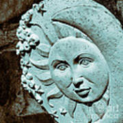 Sun And Crescent Moon Duotone Sculpture Poster