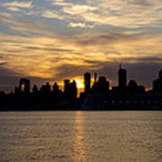 Sun Comes Up On New York City Poster
