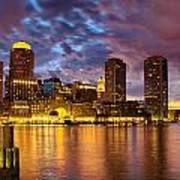 Sun Dusk Over Boston Harbor Poster