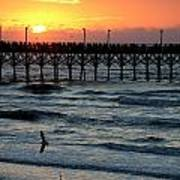 Sun Over Pier And Bird In Surf Poster