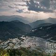 Sun Ray Over Rice Terrace Filed Poster