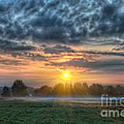 Sun Rays Vs Rain Clouds Poster