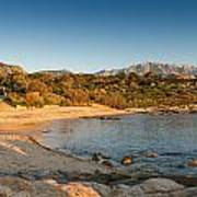 Sun Setting On The Beach At Arinella Plage In Corsica Poster