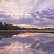Sun Setting Over Pond Poster by Bonnie Barry