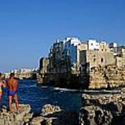 Sunbathing At Polignano A Mare Poster