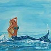 Sunbathing Mermaid Poster