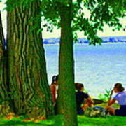 Sunday Picnic On The Lake Maple Trees At The Canal Pte Claire Montreal Waterscene Carole Spandau Poster