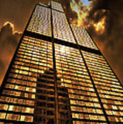 Sundown At Willis Sears Tower Poster