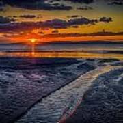 Sundown On Prestwick Beach Poster