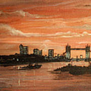Sundown Over Tower Bridge London Poster