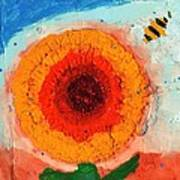 Sunflower And Bee Poster