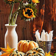 Sunflower And Gourds Still Life Poster