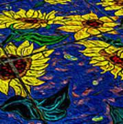 Sunflower Tiled Oil Painting Poster