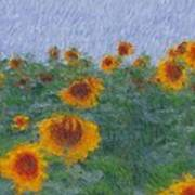 Sunflowerfield Abstract Poster