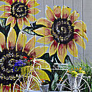 Sunflowers And Bicycle Poster