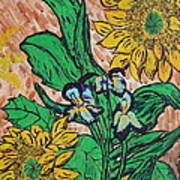 Sunflowers And Irises Poster