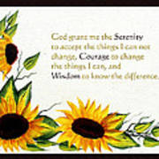 Sunflowers And Serenity Prayer Poster by Barbara Griffin