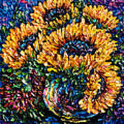 Sunflowers Bouquet In Vase Poster