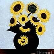 Sunflowers Expressive Brushstrokes Poster