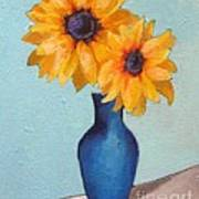 Sunflowers In A Blue Vase Poster