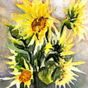 Sunflowers In Abstract Poster