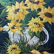 Sunflowers In An Antique Country Pot Poster by Eloise Schneider