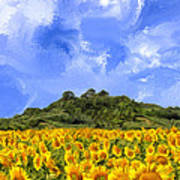 Sunflowers In Tuscany Poster