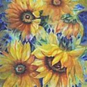 Sunflowers On Blue Poster by Ann Nicholson