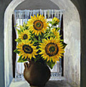 Sunflowers On The Window Poster