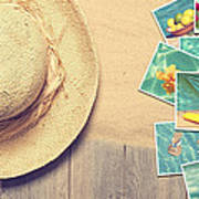 Sunhat And Postcards Poster by Amanda Elwell