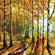 Sunny Birches - Palette Knife Oil Painting On Canvas By Leonid Afremov Poster