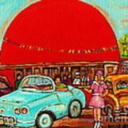 Sunny Day At The Big Orange Julep  Montreal Road Side Diner Carole Spandau Poster