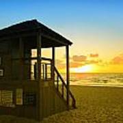 Sunny Sunrise Lifeguard Tower Poster