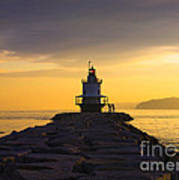 Sunrise At Spring Point Lighthouse Poster by Diane Diederich