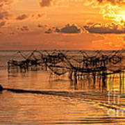 Sunrise At The Fishing Village Poster