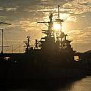 Sunrise At The Naval Base Silhouette Erie Basin Marina V1 Poster