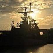 Sunrise At The Naval Base Silhouette Erie Basin Marina V3 Poster