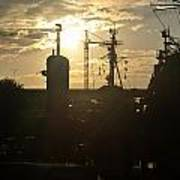 Sunrise At The Naval Base Silhouette Erie Basin Marina V4 Poster