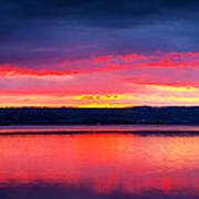 Sunrise In Cayuga Lake Ithaca New York Panoramic Photography Poster