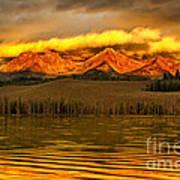 Sunrise On Little Redfish Lake Poster