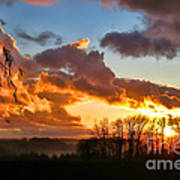 Sunrise Over Countryside Poster