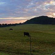 Sunrise Over Farm Poster