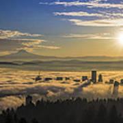 Sunrise Over Foggy Portland Poster