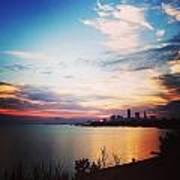 Sunrise Over Lake Erie Cleveland Poster