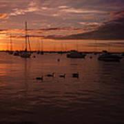 Sunrise Over Lake Michigan Poster